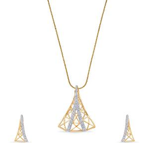 14kt Gold Diamond Pendant Set For Women - Reliance Jewels