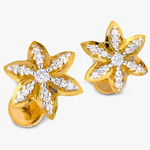 Buy Two Tone Plated Floral Design 22 Kt Gold & Cubic Zircon Earrings